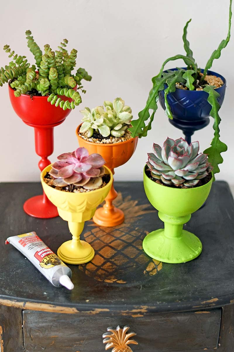 rainbow DIY repurposed planters
