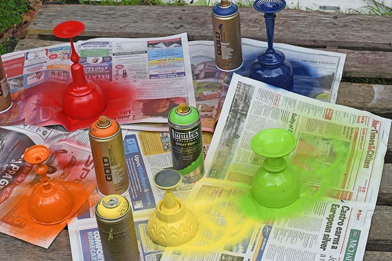 rainbow spray painted planters