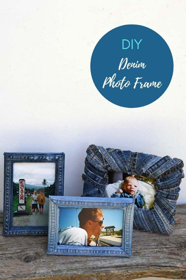 A step by step tutorial to make an upcycled denim photo frame, 2 different ways.  A great way to repurpose denim scraps for some unique interiors.