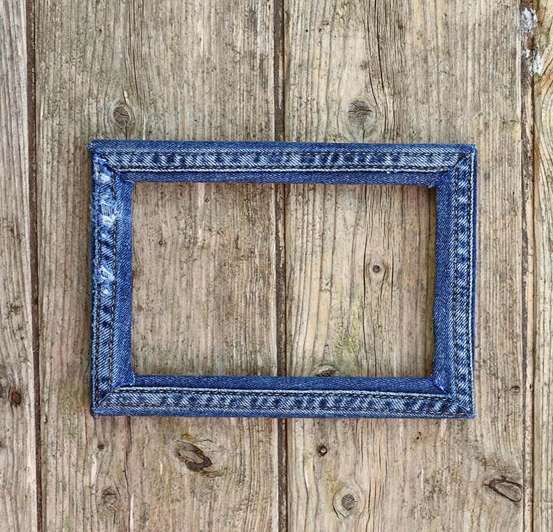 upcycled denim seams frame