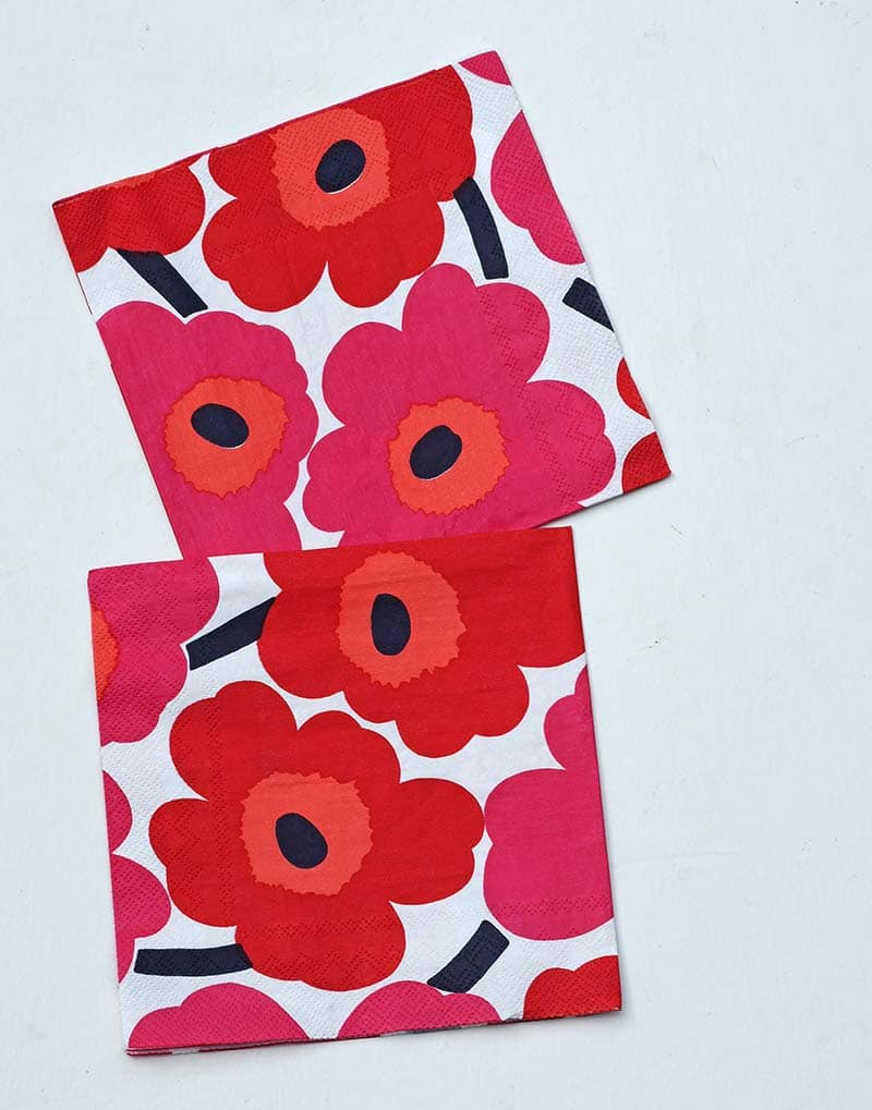 Marimekko Unikko napkins for DIY flower pillows