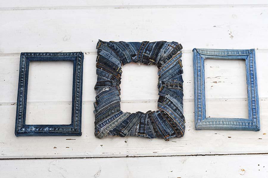 Trio upcycled denim frames