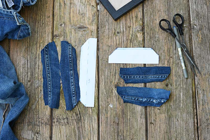 Cutting denim seams for photo frame