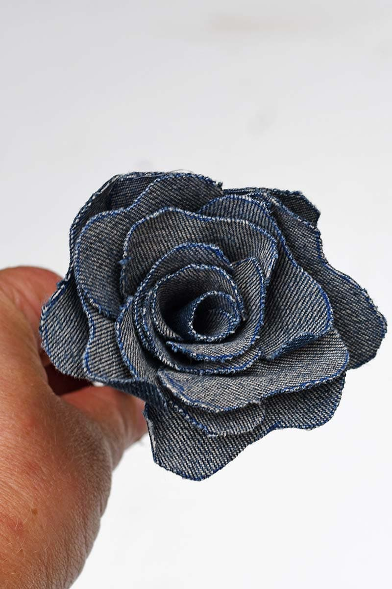 Finished denim roses