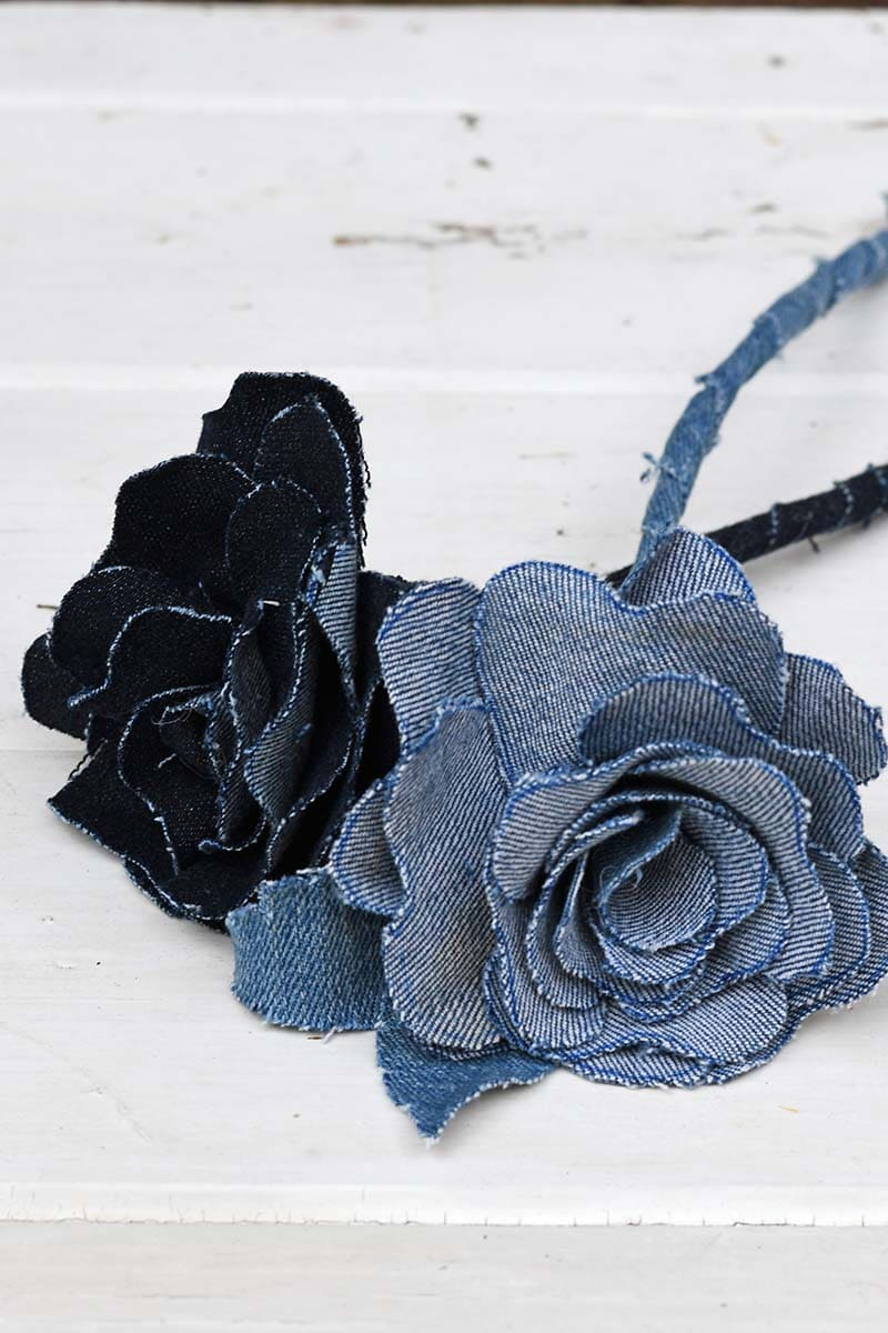 Finished denim flowers
