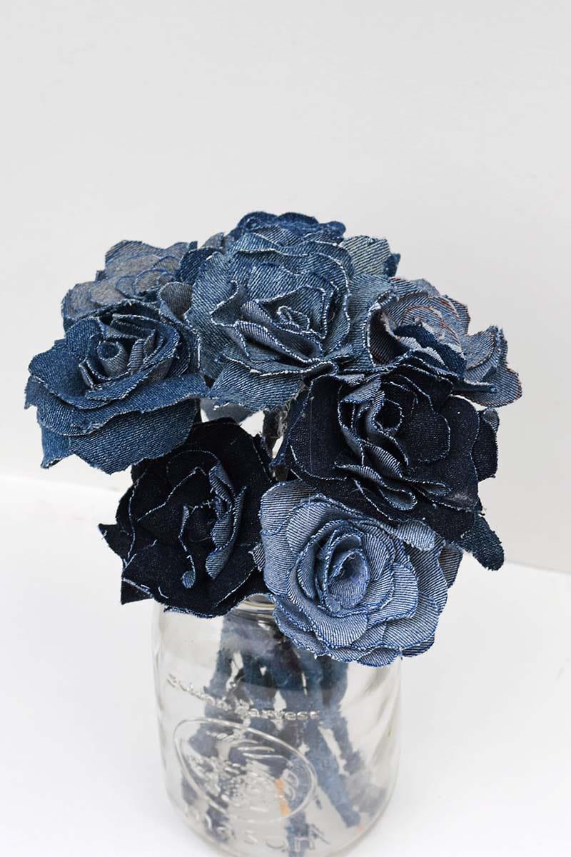 denim flower bouquet