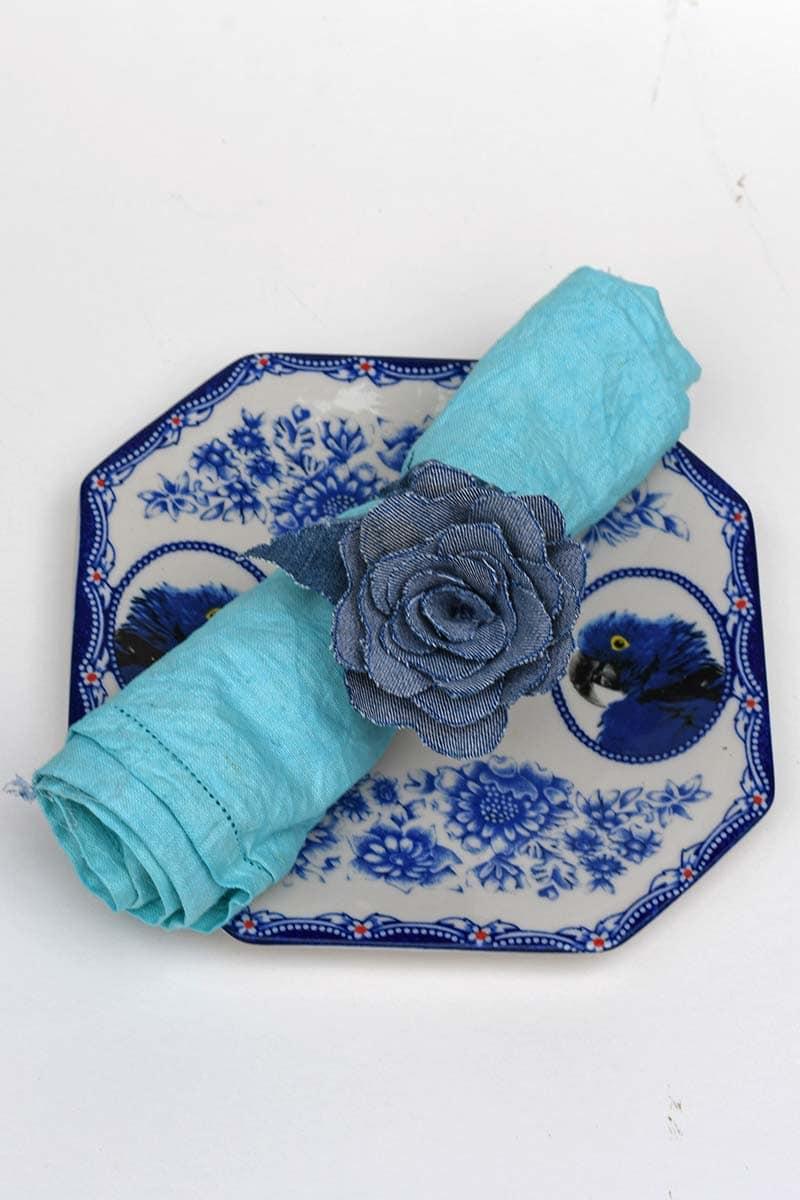 denim flower napkin ring