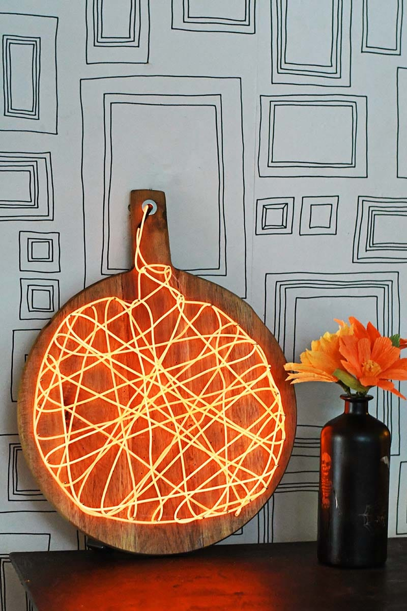 String art light-up pumpkin decoration