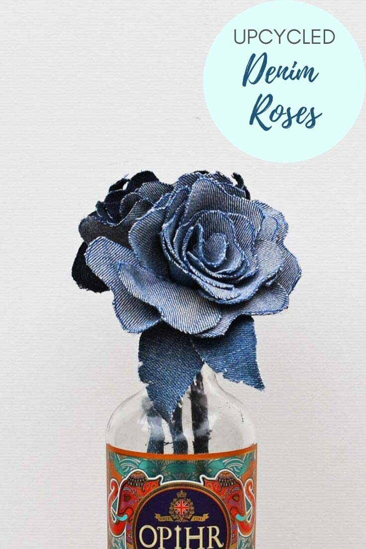 Repurpose your denim scraps from old jeans into a stunning denim flowers bouquet for your home. Or even make the denim roses into pretty napkin rings.