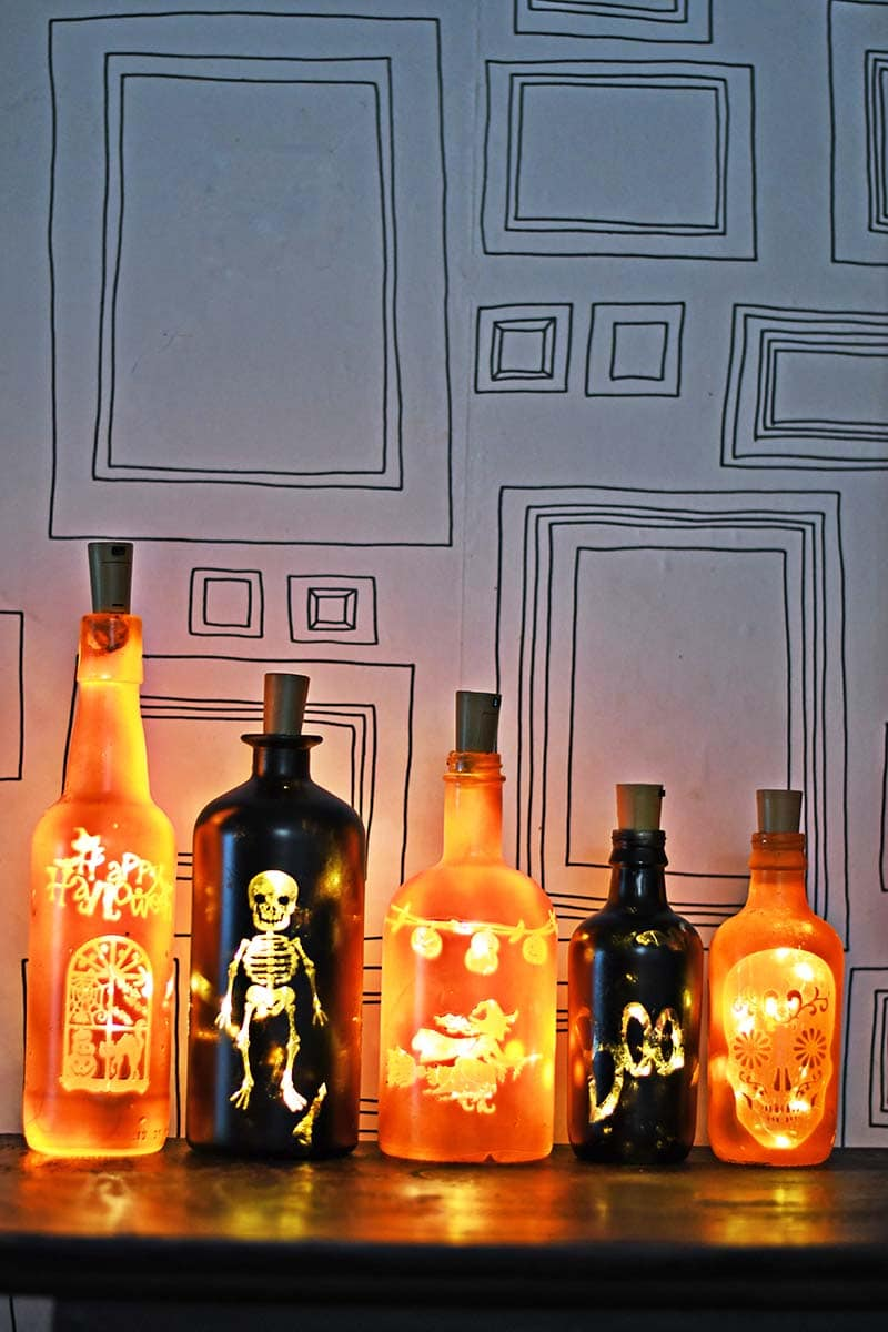 How To Make Diy Halloween Lights With Old Bottles Pillar Box Blue