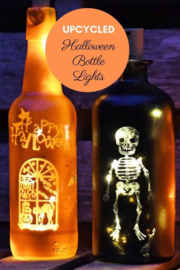 upcycled halloween bottle lights