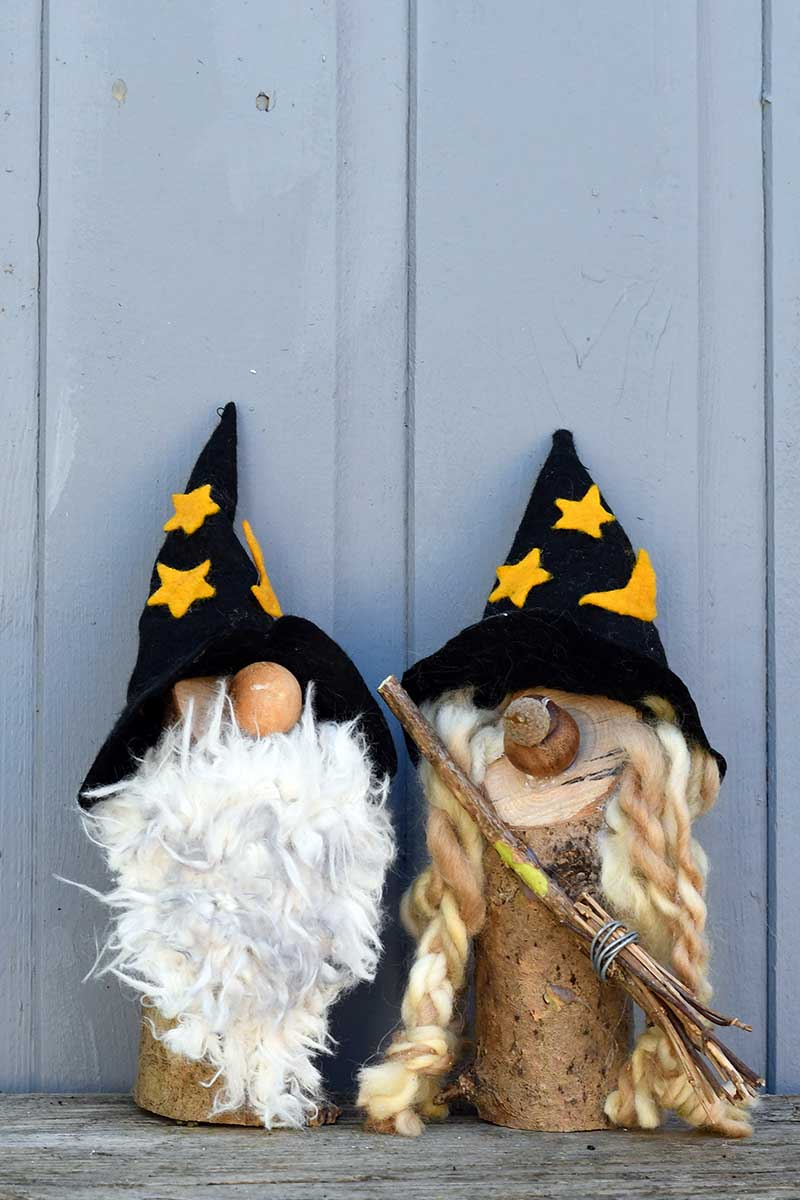 witch and wizard gnomes for Halloween