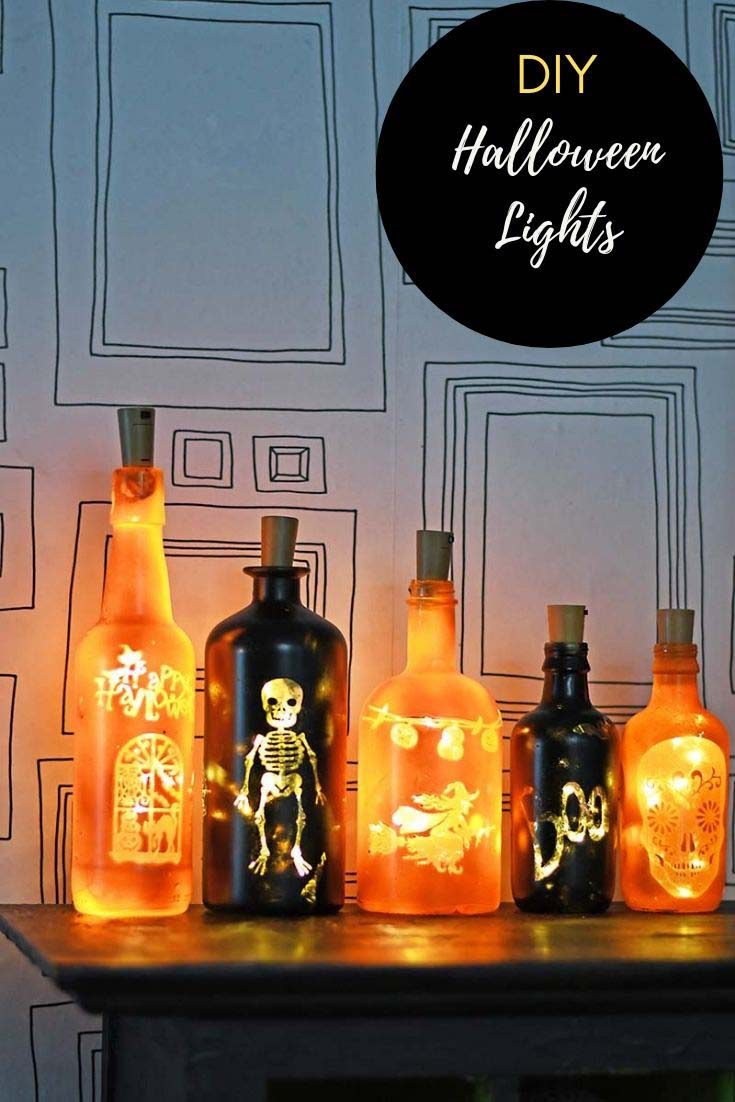 Make some illuminated fun this Halloween with these DIY bottle lights.  No drilling required.  #bottlelights #Halloweencrafts