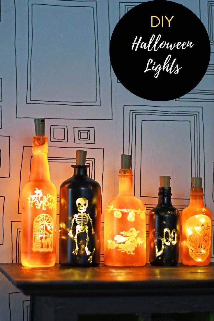 DIY Halloween bottle lights