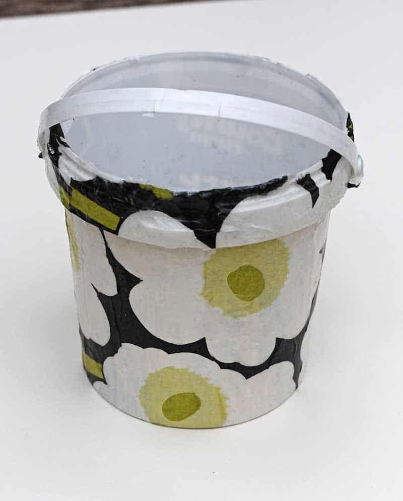 Marimekko decoupage storage bucket