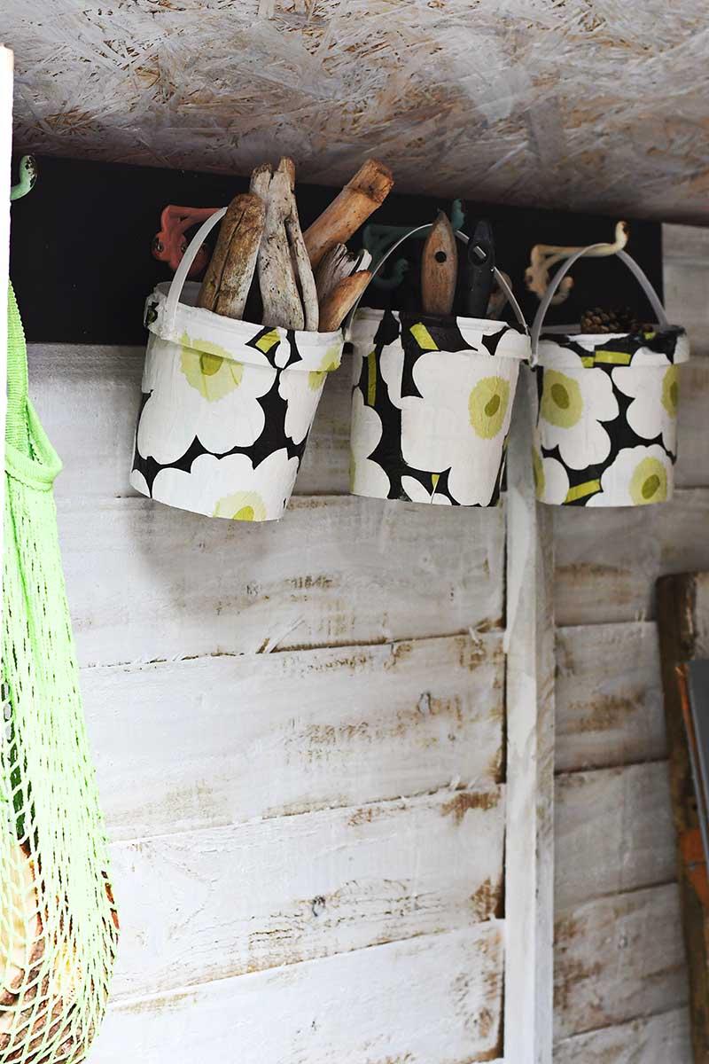 Upcycled Marimekko hanging bucket storage