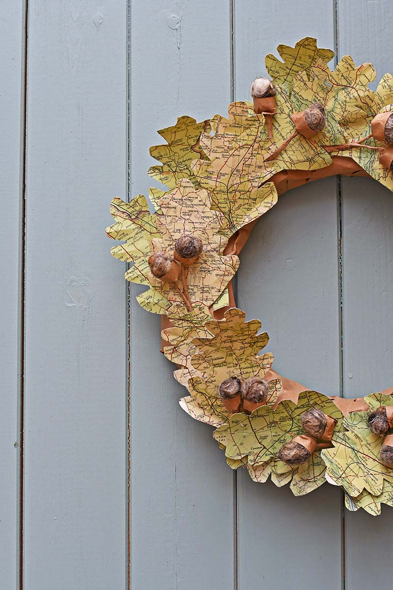 upcycled map leaf wreath