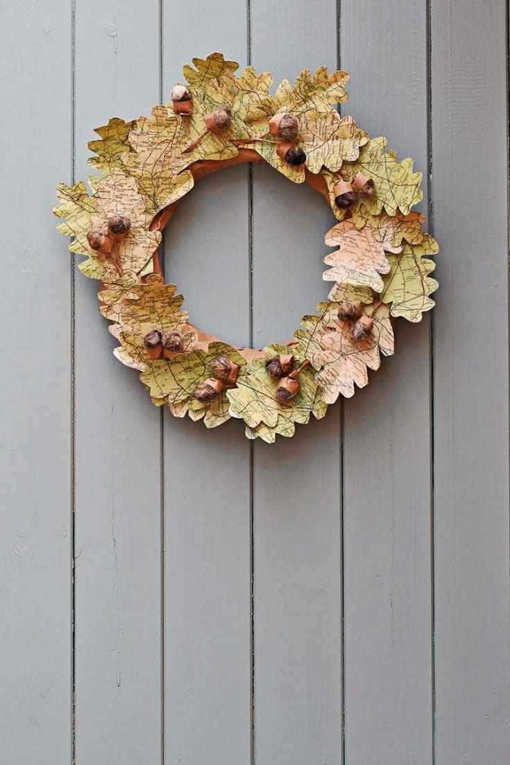 Map Leaf Wreath For Fall