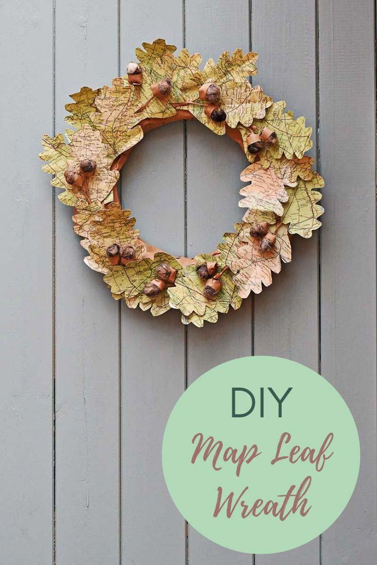 map leaf wreath for fall