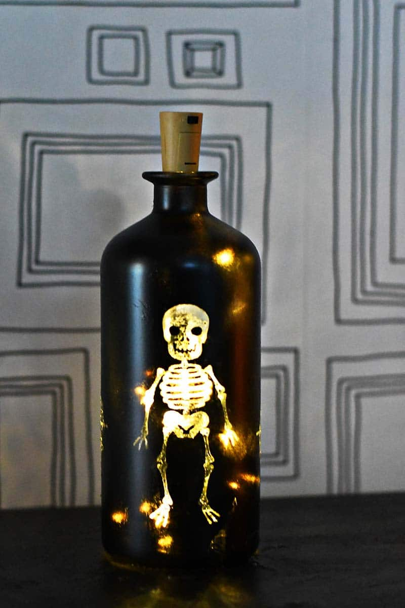 upcycled DIY Halloween lights bottle