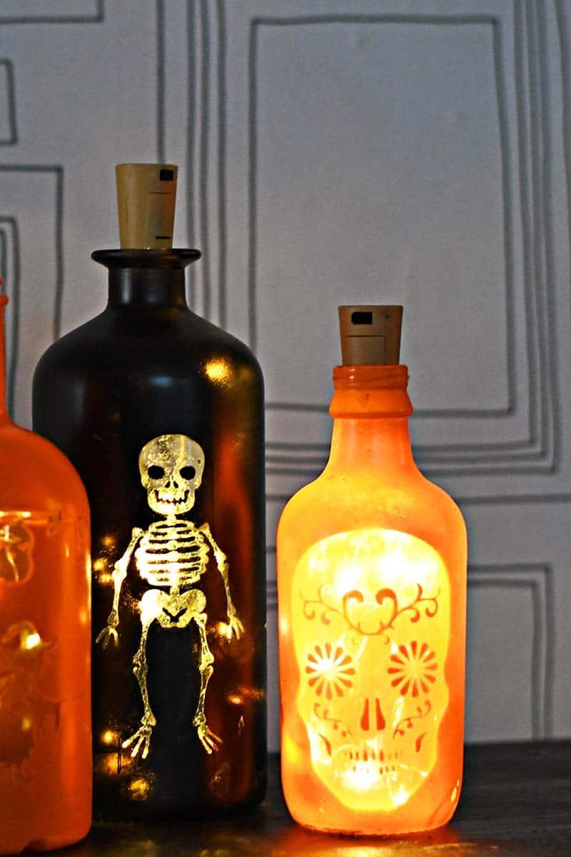 DIY Bottle lights for Halloween