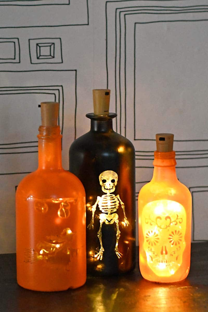 Bottle lights for Halloween