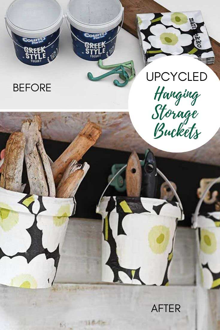 upcycled hanging storage buckets