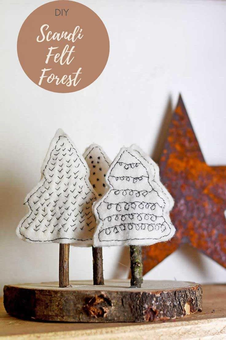 A simple but very cute felt Christmas craft.  Create a mini Scandinavain forest from felt scraps and twigs and a wood slice,  for your mantle.  #Christmascrafts #feltcrafts #Christmastrees