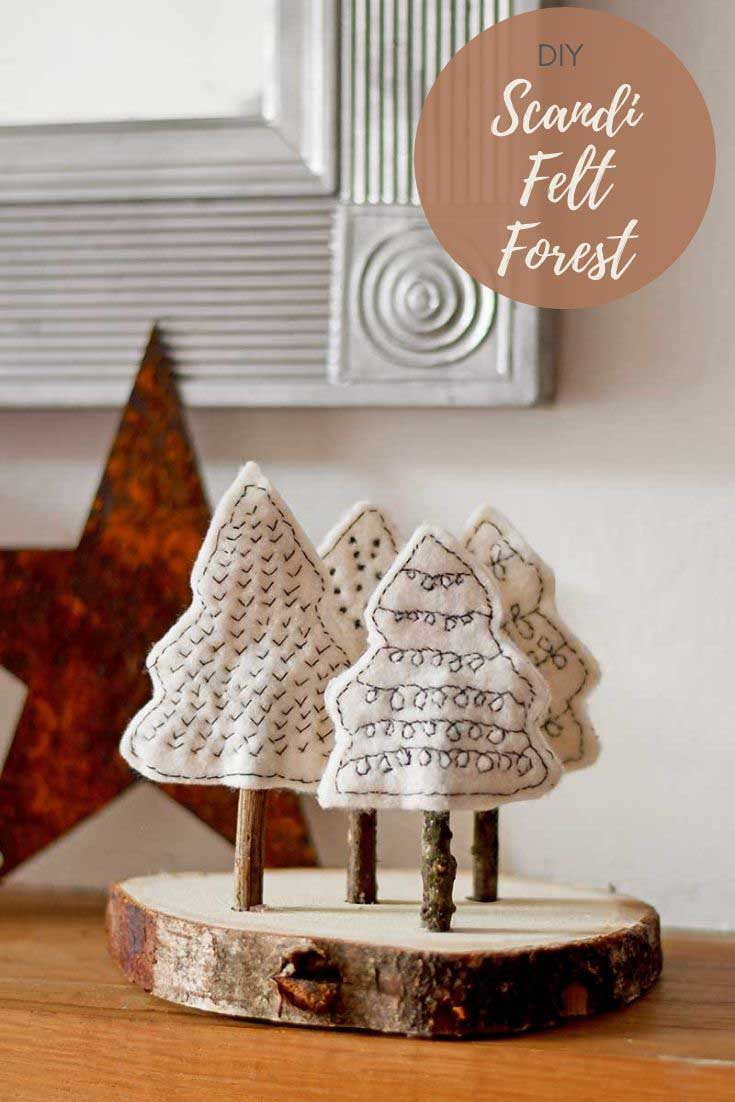 felt christmas craft Scandi trees