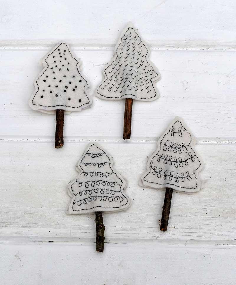 Finished Scandi Felt Christmas craft trees