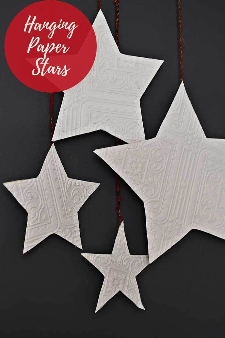 Christmas wall hanging paper stars.