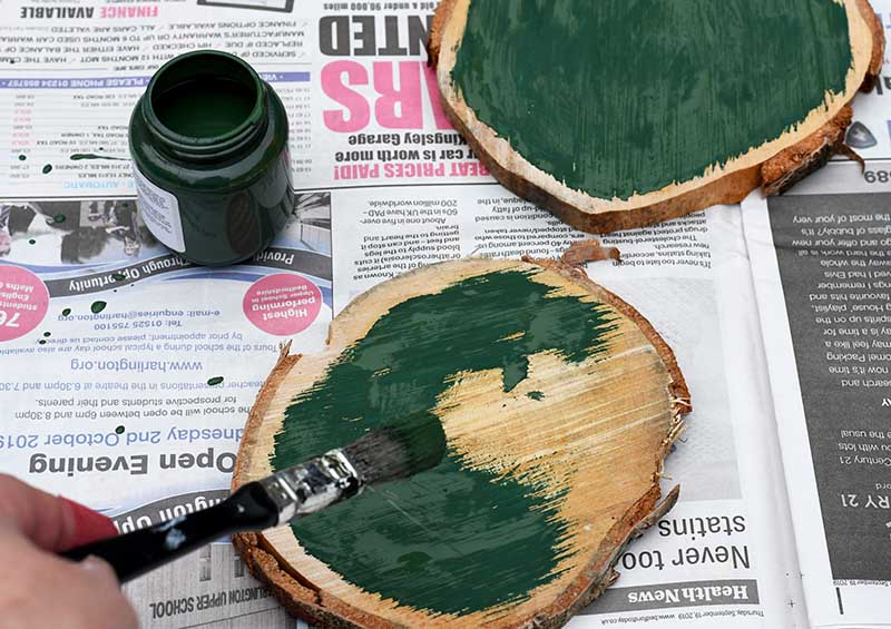 painting the wood slices
