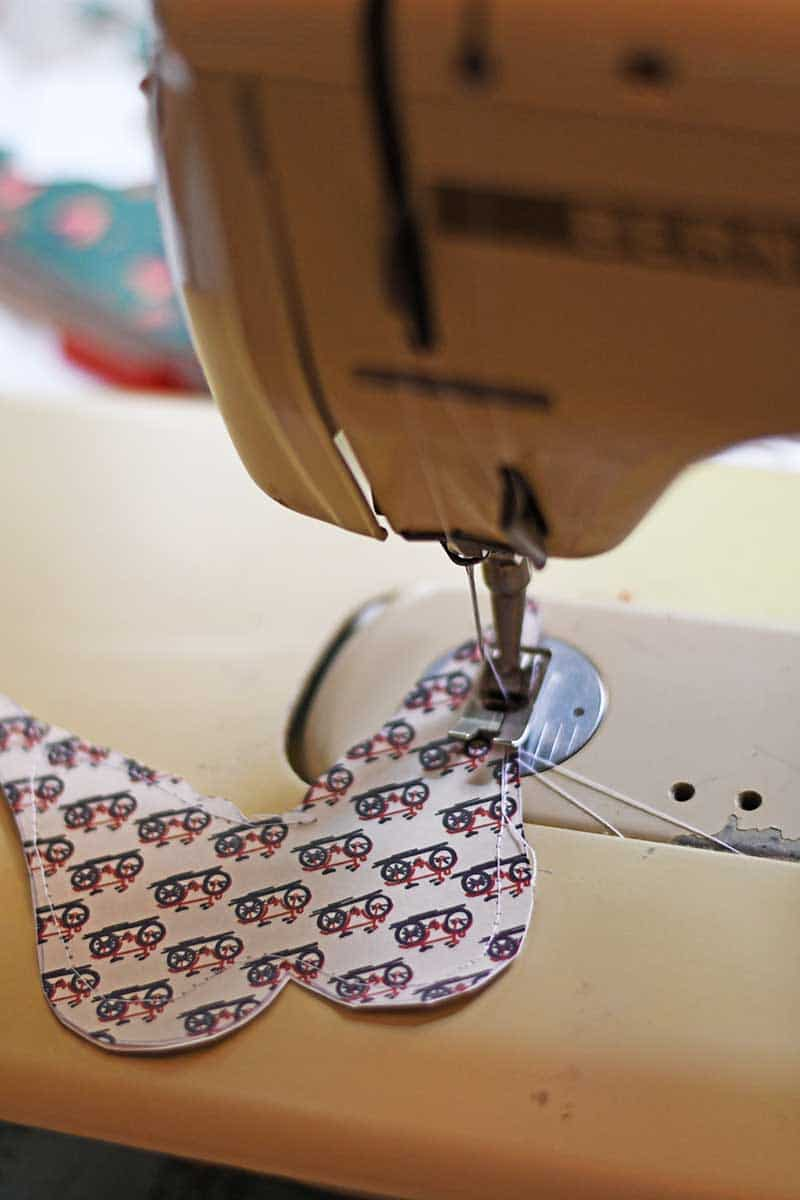 Sewing up the bags