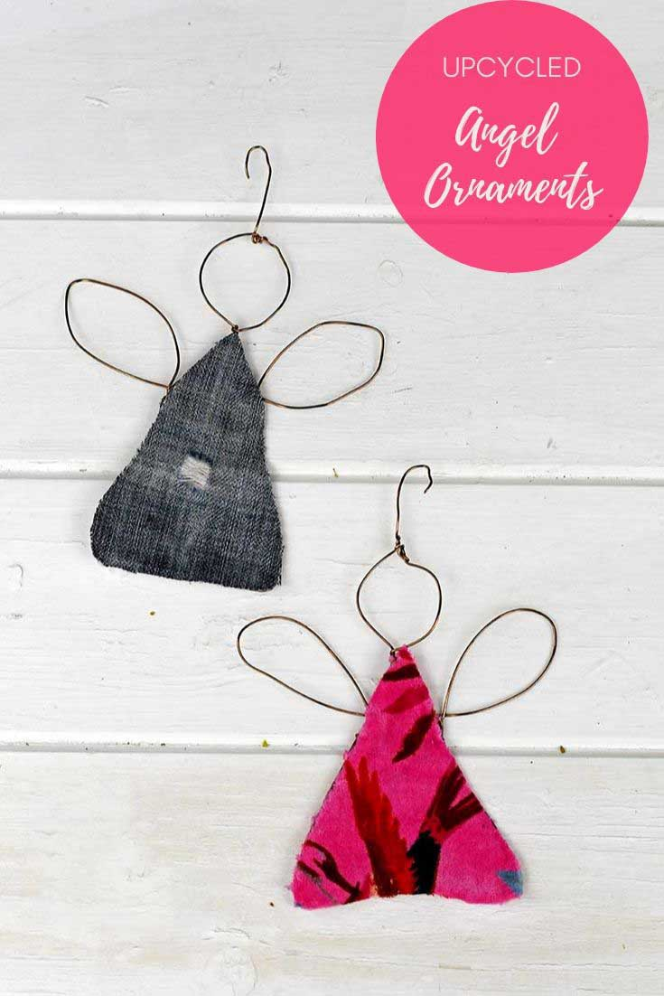 Upcycled fabric angel ornaments