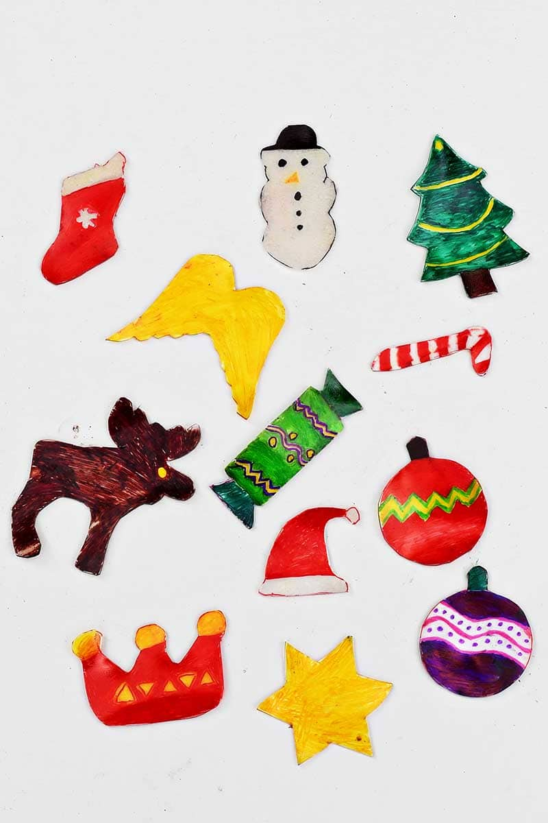 Cookie cutter Christmas shrink plastic shapes