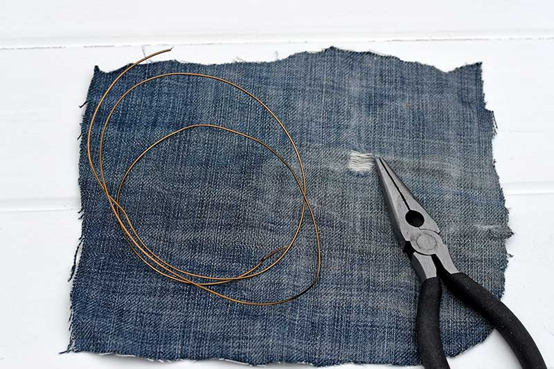 wire and denim scraps.