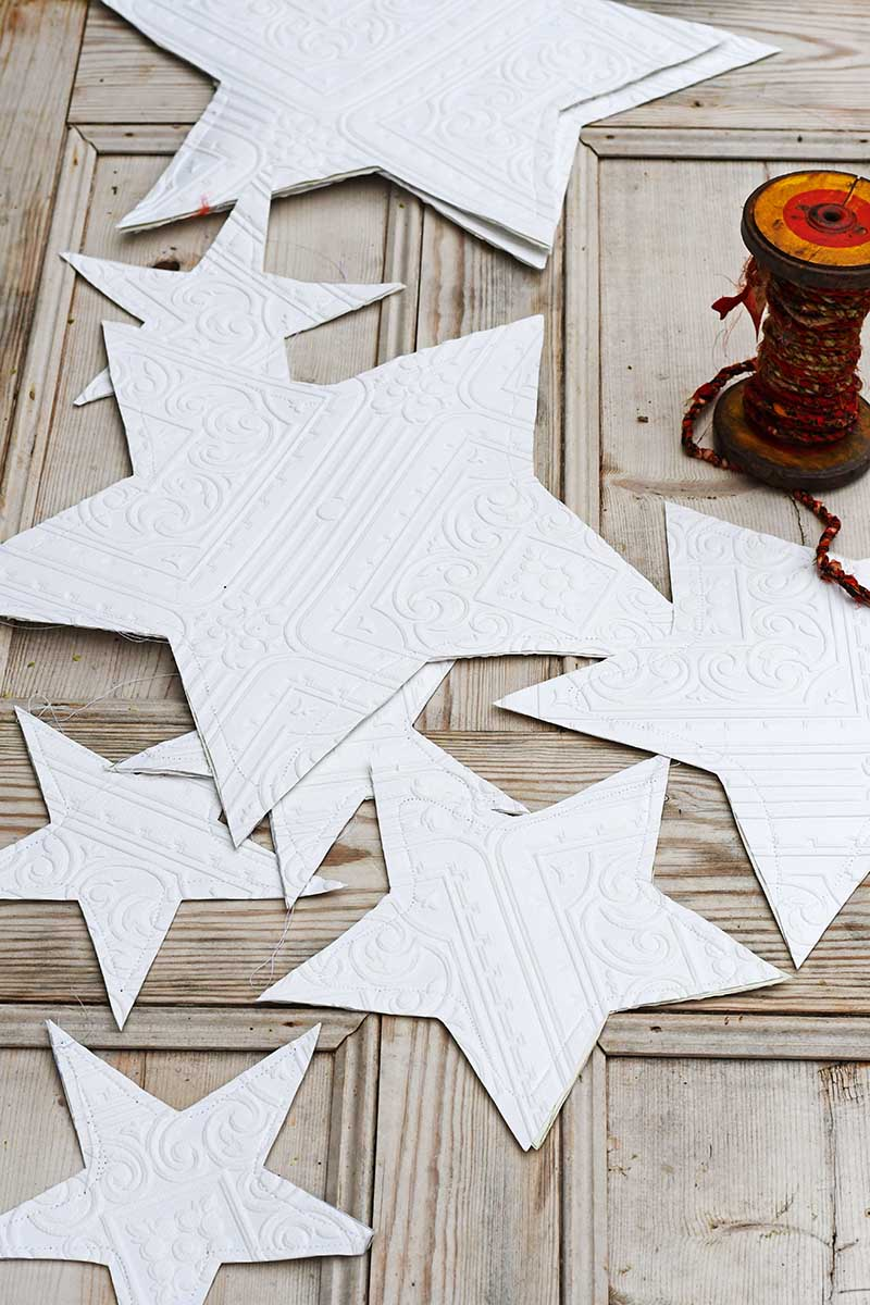 textured wallpaper Christmas stars decoration