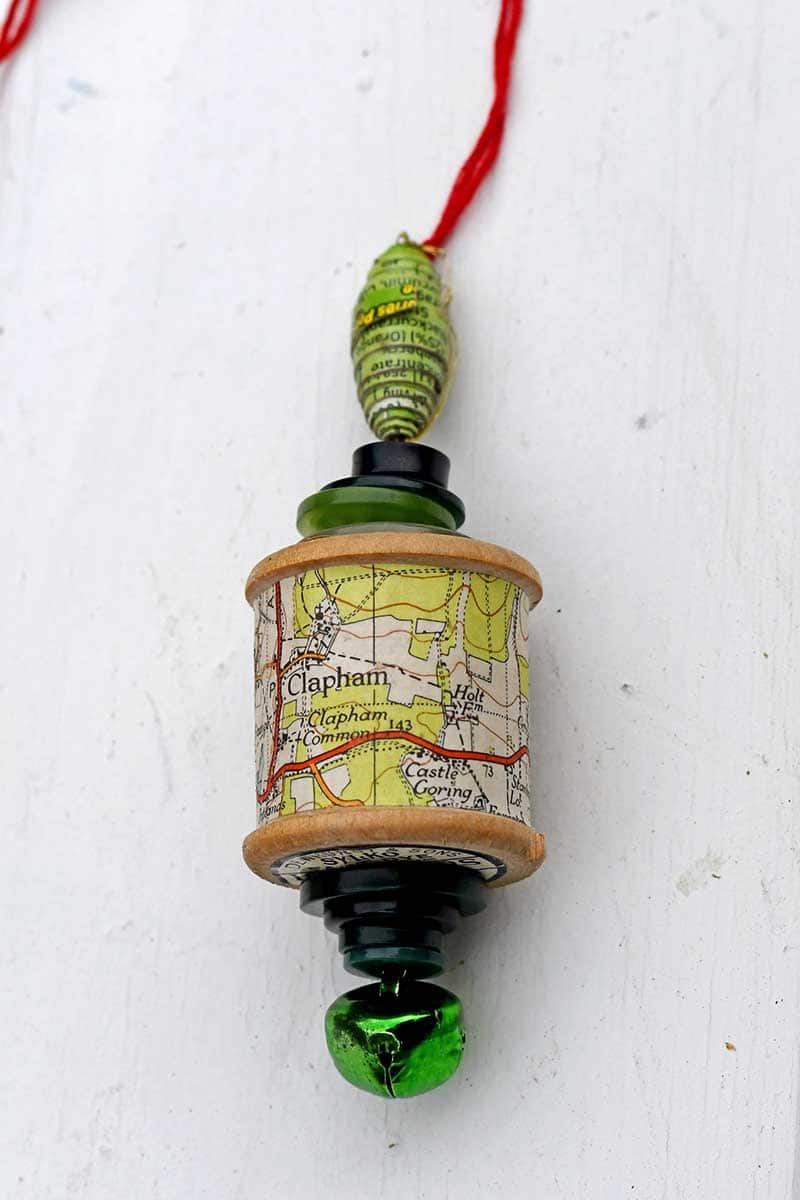 Handmade map christmas ornament