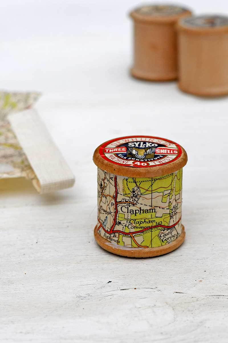 Cotton reel map Christmas ornament