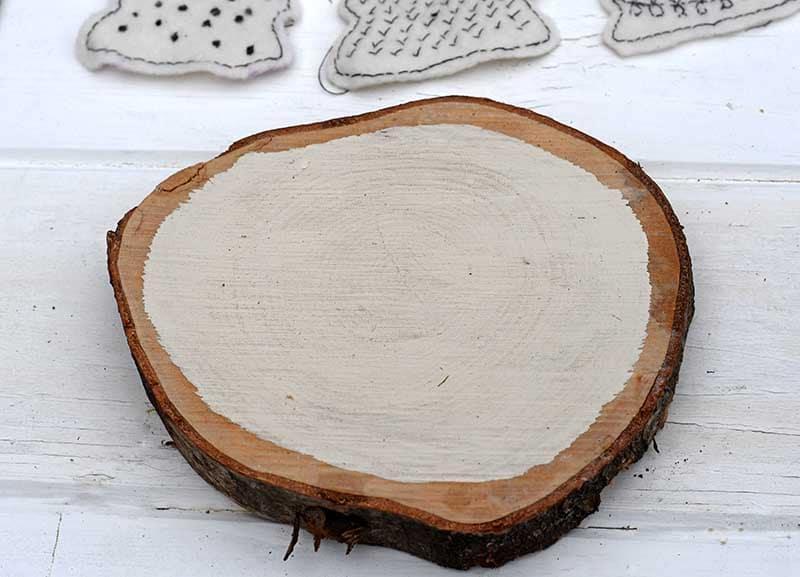 painted wood slice base