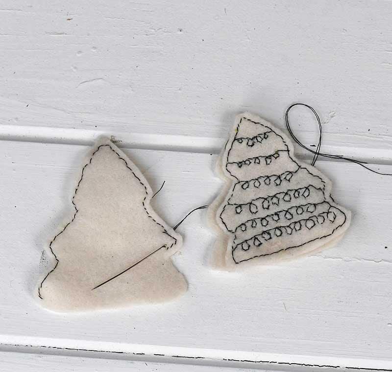 stitching Scandi Christmas trees