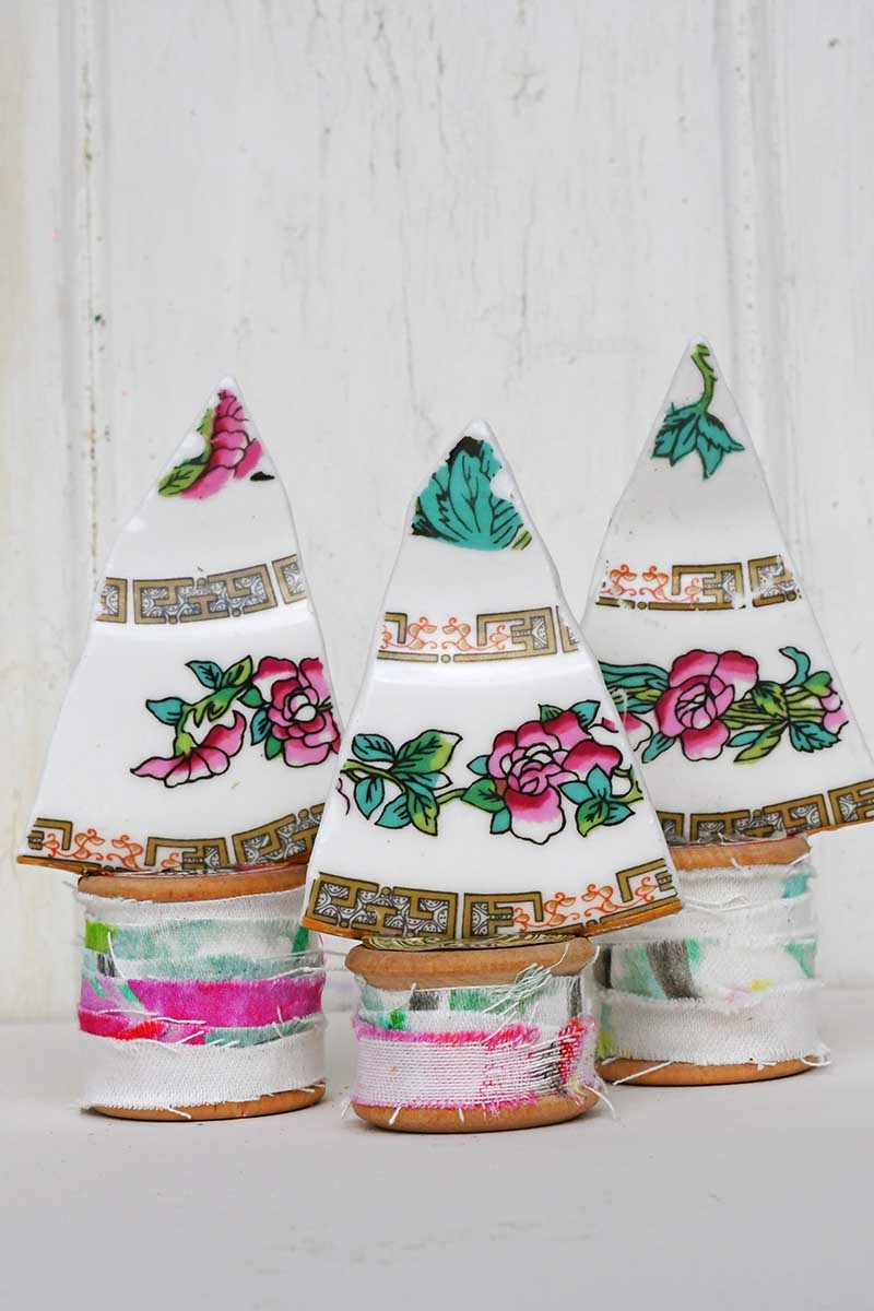 upcycle china plate Christmas trees