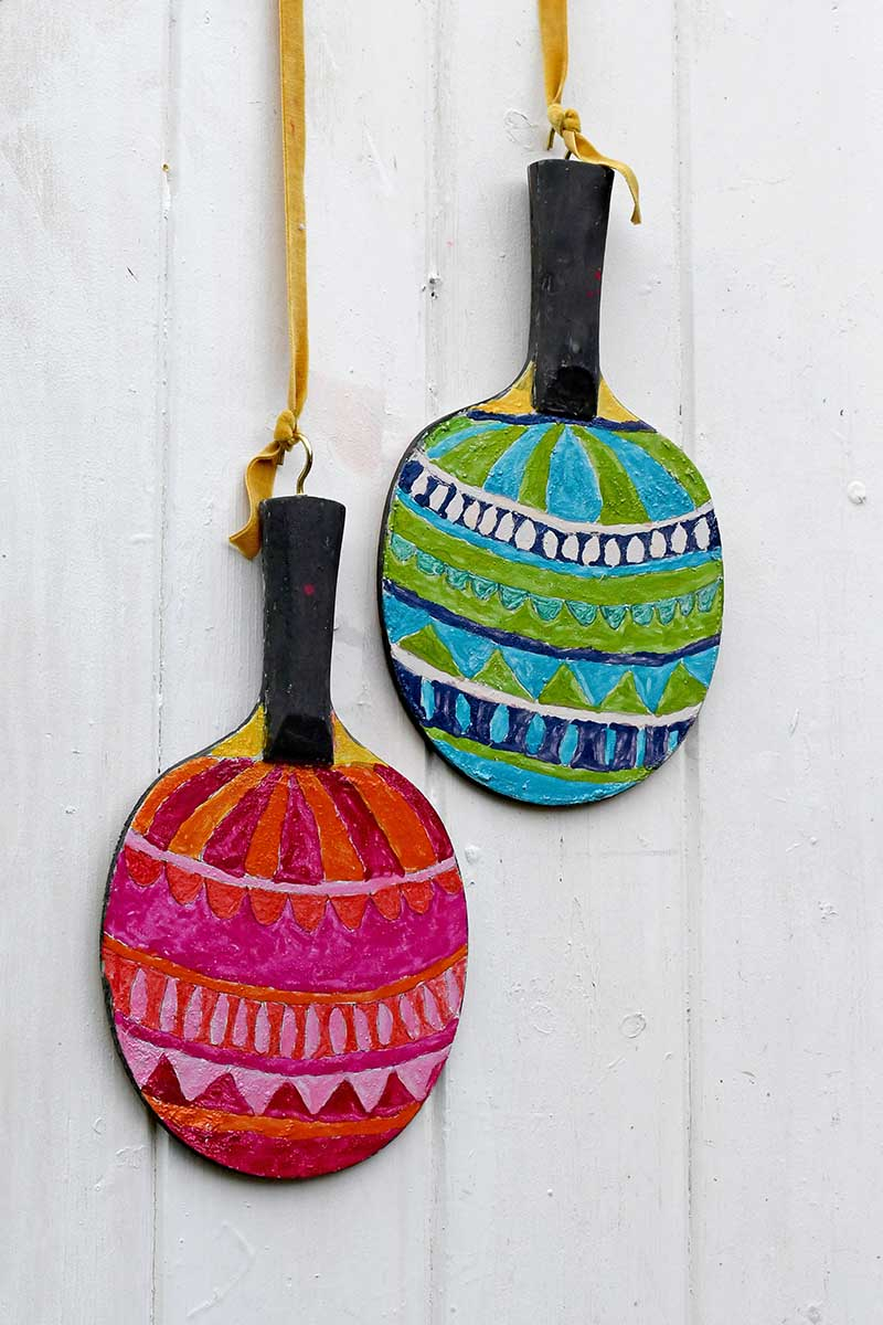 upcycle table tennis paddles ornament