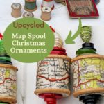 Upcycled map spool Christmas ornaments