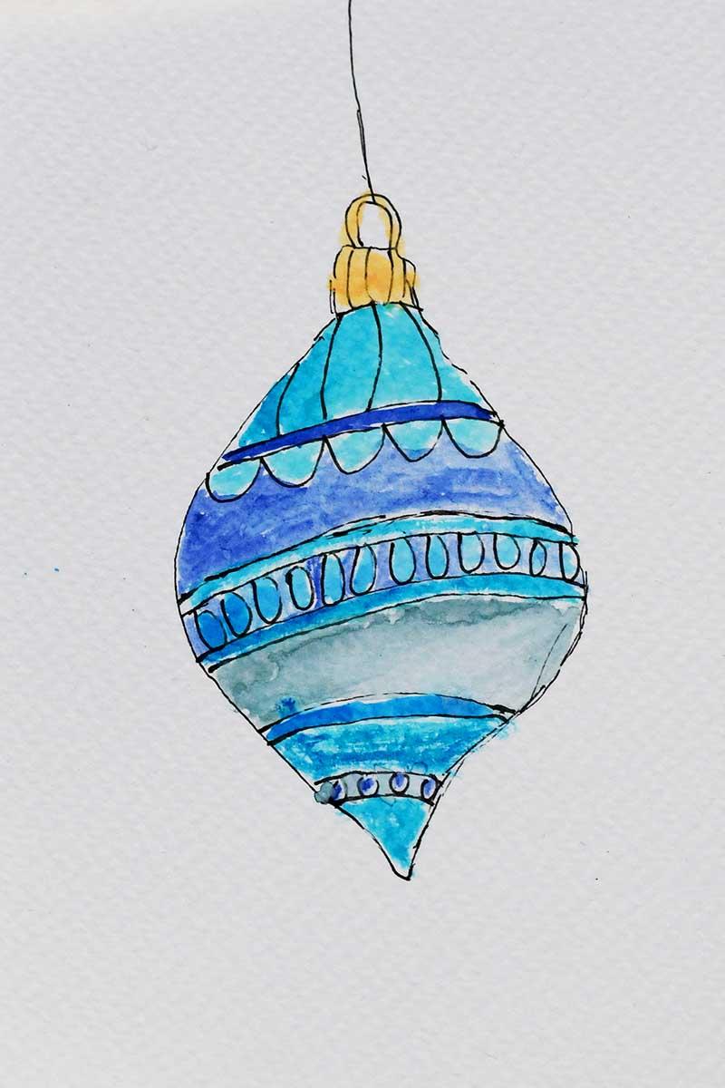 blue watercolor bauble.