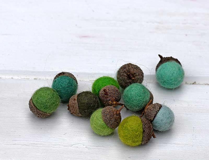 green felt acorns.