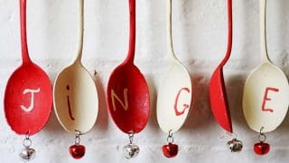 Attaching bells to Christmas windchimes