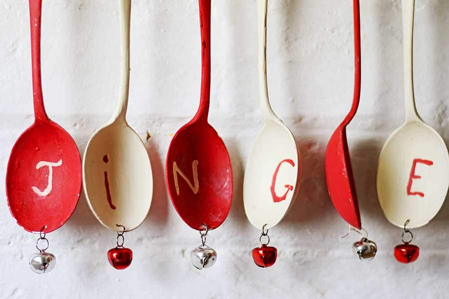 Attaching bells to Christmas wind chimes