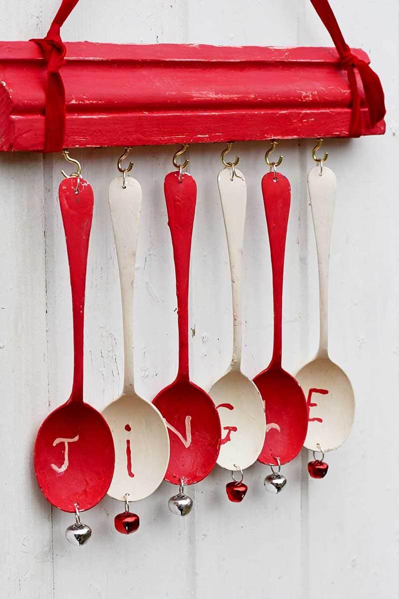 upcycled Christmas wind chime jingle