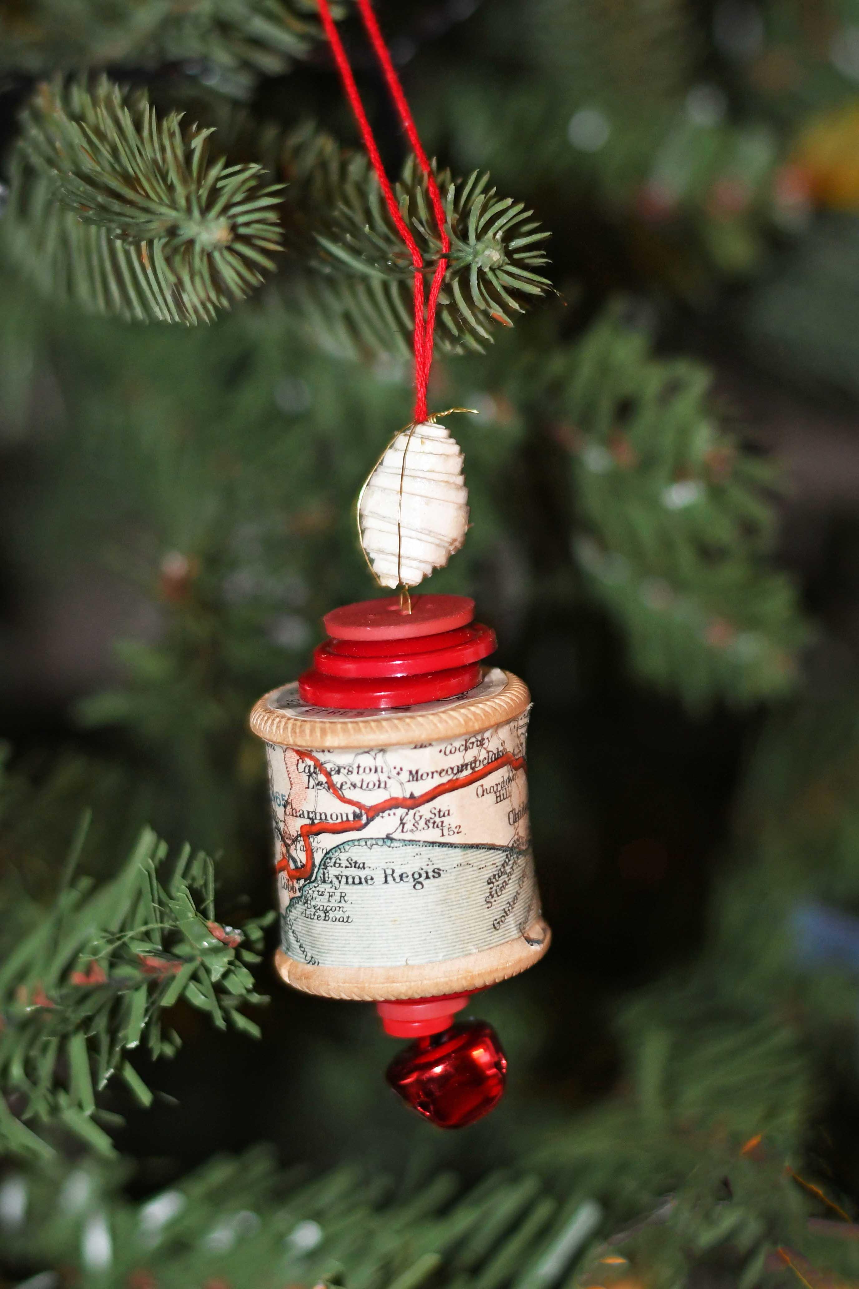 Map cotton reel ornament